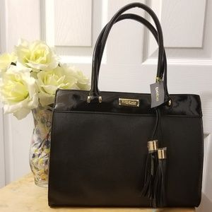 Beautiful Black Leather Bebe Tote Bag